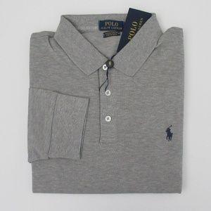 NWT Ralph Lauren LS Slim Stretch Mesh Polo Shirt